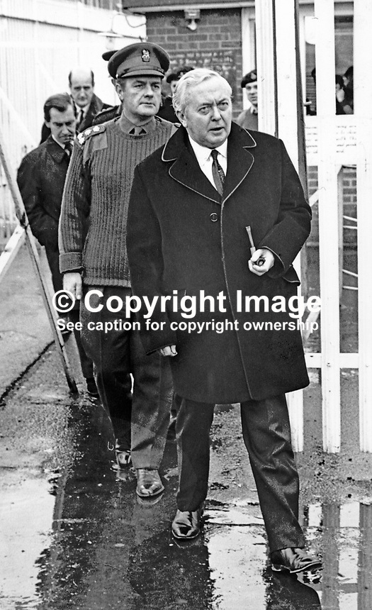 UK Prime Minister Harold Wilson on a visit to Londonderry, N Ireland in November 1971. With him is Brigadier Andrew Patrick MacLellan, aka Brigadier Pat MacLellan, the British Army commander in Londonderry. He was still the commander on the ground on Bloody Sunday, 30th January 1972. 19711111701HW1<br />