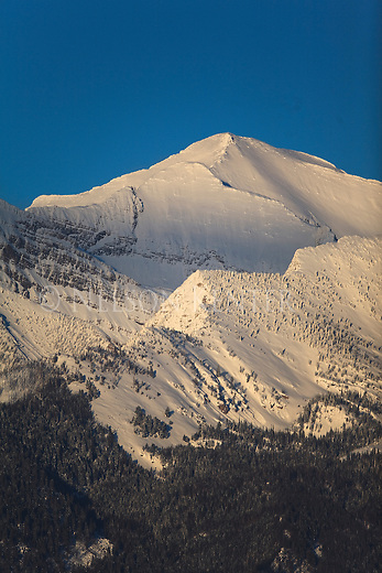 Mission Mountain peak in winter