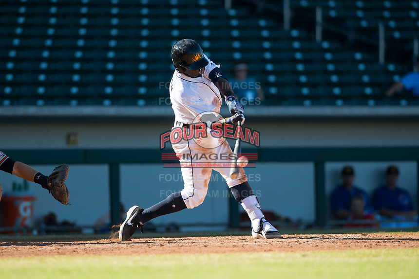 Mesa Solar Sox center fielder Daz Cameron (13), of the Detroit Tigers organization, swings at a pitch during an Arizona Fall League game against the Glendale Desert Dogs at Sloan Park on October 27, 2018 in Mesa, Arizona. Glendale defeated Mesa 7-6. (Zachary Lucy/Four Seam Images)