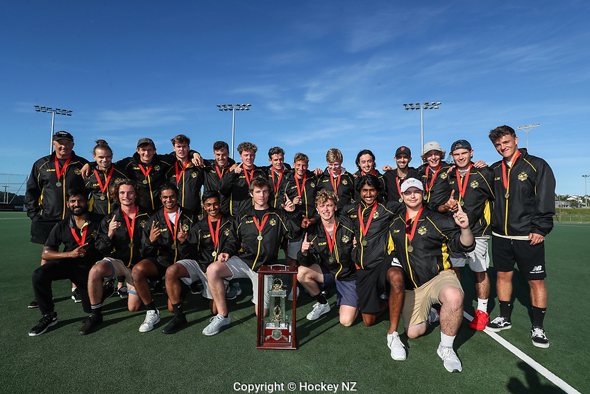 Capital men celebrate. Under 21 National Hockey Championships, North Harbour Hockey Stadium, Auckland, Saturday 11 May 2019. Photo: Simon Watts/Hockey NZ