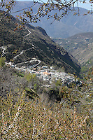 Pampaneira, in the steep gorge of the Poqueira river, Alpujarra, Andalucia, Southern Spain. Moorish influence is seen in the distinctive cubic architecture of the Sierra Nevada's Alpujarra region, reminiscent of Berber architecture in Morocco's Atlas Mountains. Photograph by Manuel Cohen.