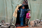 ARBAT, IRAQ: Syrian children in the Arbat refugee camp...45 families who have fled the violence in Syria are currently living in the Arbat refugee camp 19km outside the Iraqi city of Sulaimaniyah...Photo by Zmnako Ismael/Metrography