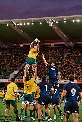 17.09.2016. Perth, Australia.  Dean Mumm of the Qantas Wallabies wins the line out during the Rugby Championship test match between the Australian Qantas Wallabies and Argentina's Los Pumas from NIB Stadium - Saturday 17th September 2016 in Perth, Australia.