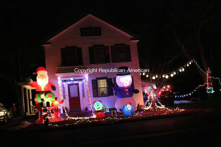 SOUTHBURY, CT-26 December 2013-122513LW01 - A Southbury resident has complianed about the appearance of these blow-up Christmas decorations at this home in South Britain's Historic district across the street from the Old Town Hall. Laraine Weschler Republican-American