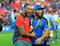 Manu Vatuvai and Suata Matagi share a laugh before the 2017 Rugby League World Cup match between the Toa Samoa and Mate Ma'a Tonga at the FMG Stadium in Hamilton, New Zealand on Saturday, 4 November 2017. Photo: Dave Lintott / lintottphoto.co.nz