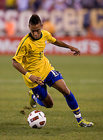 Neymar (11) of Brazil carries the ball forward during an international friendly at the New Meadowlands Stadium in East Rutherford, NJ. Brazil defeated the USMNT, 2-0.