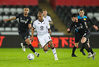 2nd January 2020; Liberty Stadium, Swansea, Glamorgan, Wales; English Football League Championship, Swansea City versus Charlton Athletic; Andrew Ayew of Swansea City brings the ball forward as he beats Purrington of Charlton - Strictly Editorial Use Only. No use with unauthorized audio, video, data, fixture lists, club/league logos or 'live' services. Online in-match use limited to 120 images, no video emulation. No use in betting, games or single club/league/player publications