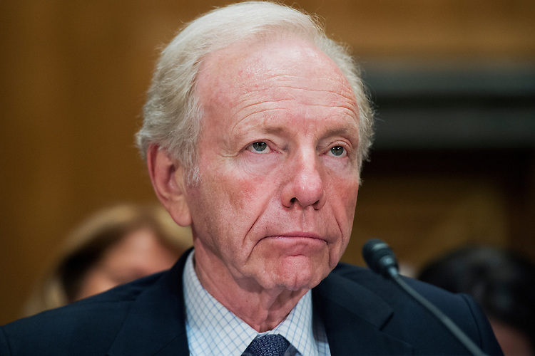 "UNITED STATES - JUNE 17: Former Sen. Joseph Lieberman, co-chair of No Labels, appears before a Senate Homeland Security and Governmental Affairs Committee hearing in Dirksen Building titled ""Governing Through Goal Setting: Enhancing the Economic and National Security of America,"" June 17, 2015. Former Gov. Jon Huntsman Jr., R-Utah, co-chair of No Labels, also testified. (Photo By Tom Williams/CQ Roll Call)"