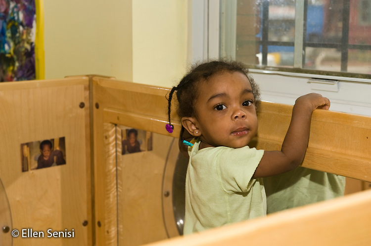 MR / Washington, D.C. / Bright Beginnings Child Development Center / Bright Beginnings is a child and family development center serving children and families living in homeless environments, crisis shelters, or transitional housing. Toddler Room. Portrait of a girl (1; African-American). ID: Al_gPbb MR: Car32 ©Ellen B. Senisi