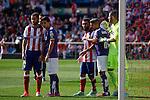 Atletico de Madrid´s MArio Suarez and Arda Turan and Espanyol´s Salva and goalkeeper Casilla during 2014-15 La Liga Atletico de Madrid V Espanyol match at Vicente Calderon stadium in Madrid, Spain. October 19, 2014. (ALTERPHOTOS/Victor Blanco)