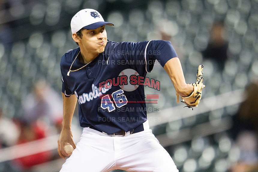 North Carolina Tar Heels pitcher Luis Paula #46 delivers during the NCAA baseball game against the Rice Owls on March 1st, 2013 at Minute Maid Park in Houston, Texas. North Carolina defeated Rice 2-1. (Andrew Woolley/Four Seam Images).