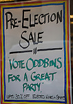 Pre-election sales poster at Oddbins off licence, London, England
