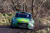 10th February 2019, Galway, Ireland; Galway International Rally; Manus Kelly and Donall Barrett (Hyundai i20 R5) are taking time to adjust to their new car, and lie in 14th place after the opening loop of stages
