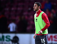 Lincoln City's James Wilson during the pre-match warm-up<br /> <br /> Photographer Andrew Vaughan/CameraSport<br /> <br /> The EFL Checkatrade Trophy Northern Group H - Scunthorpe United v Lincoln City - Tuesday 9th October 2018 - Glanford Park - Scunthorpe<br />  <br /> World Copyright &copy; 2018 CameraSport. All rights reserved. 43 Linden Ave. Countesthorpe. Leicester. England. LE8 5PG - Tel: +44 (0) 116 277 4147 - admin@camerasport.com - www.camerasport.com