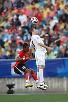 USA midfielder (6) Michael Bradley and Austria forward (19) Rubin Okotie go up for a header. Austria (AUT) defeated the United States (USA) 2-1 in overtime of a FIFA U-20 World Cup quarter-final match at the National Soccer Stadium at Exhibition Place, Toronto, Ontario, Canada, on July 14, 2007.