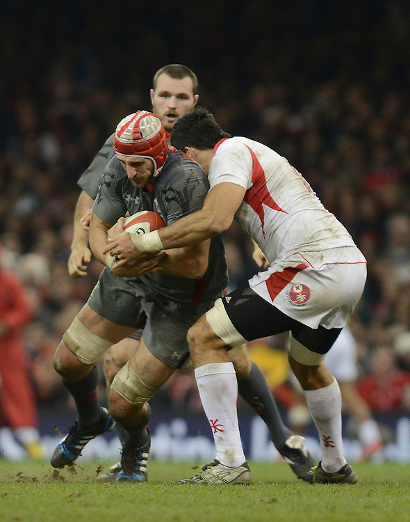 Wales Luke Charteris is tackled by Tonga's Joe Tuineau<br /> <br /> Photo by Ian Cook/CameraSport<br /> <br /> International Rugby Union - Dove Men Series 2013 - Wales v Tonga - Saturday 23rd November 2013 - Millennium Stadium - Cardiff <br /> <br /> &copy; CameraSport - 43 Linden Ave. Countesthorpe. Leicester. England. LE8 5PG - Tel: +44 (0) 116 277 4147 - admin@camerasport.com - www.camerasport.com