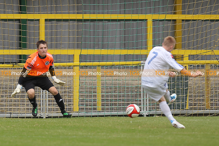 Matthew Daniels scores the only goal of the game from the penalty spot - Romford vs Wroxham - Ryman League Division One North Football at Ship Lane, Thurrock FC - 02/09/12 - MANDATORY CREDIT: Gavin Ellis/TGSPHOTO - Self billing applies where appropriate - 0845 094 6026 - contact@tgsphoto.co.uk - NO UNPAID USE.