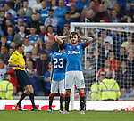 Andy Halliday can't look and turns down the park as St Mirren prepere to take their penalty kick