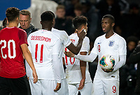 Eddie Nketiah (Leeds United (on loan from Arsenal) of England U21 at full time with the matchball during the UEFA Euro U21 International qualifier match between England U21 and Austria U21 at Stadium MK, Milton Keynes, England on 15 October 2019. Photo by Andy Rowland.