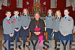 Maurice O'Keeffe, Padraig O'Neill, Laura O'Sullivan, Sarah O'Keeffe, Aoife O'Neill and Shannon O'Sullivan, pupils of Lenamore National School, pictured with Bishop Bill Murphy after their confirmation in the Church of St. Michael the Archangel, Ballylongford, on Tuesday.    Copyright Kerry's Eye 2008