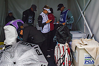 Nelly Korda (USA) stays dry in the tent near the tee on 1 before round 1 of the KPMG Women's PGA Championship, Hazeltine National, Chaska, Minnesota, USA. 6/20/2019.<br /> Picture: Golffile | Ken Murray<br /> <br /> <br /> All photo usage must carry mandatory copyright credit (© Golffile | Ken Murray)