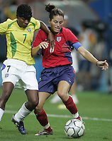 26 August 2004: Abby Wambach in action during the Gold Medal game against Brazil at Karaiskakis Stadium in Athens, Greece.   USA defeated Brazil, 2-1 in overtime.   Credit: Michael Pimentel / ISI.