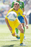 Columbus Crew defender Rich Balchan (2) chases the ball in a match against the Sounders at CenturyLink Field in Seattle, Washington. The Sounders defeated Columbus Crew, 6-2.