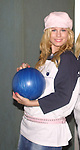 "Stephanie Gatschet (Tammy) at the ""Bloss and Friends"" bowling event hosted by Jerry verDorn (Ross) and Liz Kiefer at the Port Authority Bowling lanes to benefit the Cancer Foundation on October 9, 2004 (Photo by Sue Coflin)"