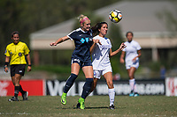 Sanford, FL - Saturday Oct. 14, 2017:  Players battle for a ball during a US Soccer Girls' Development Academy match between Orlando Pride and NC Courage at Seminole Soccer Complex. The Courage defeated the Pride 3-1.