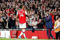 Pierre-Emerick Aubameyang of Arsenal gees on the fans during the Premier League match between Arsenal and Aston Villa at the Emirates Stadium, London, England on 22 September 2019. Photo by Carlton Myrie / PRiME Media Images.