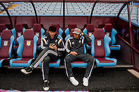 Re: Saturday 21st March 2015 <br /> Pictured: ( L-R )  Ki Sung-Yueng of Swansea City  and Jefferson Montero of Swansea City  relax prior to the game at Villa Park <br /> Re: Barclays Premier League Aston Vila v Swansea City at Villa Park, Birmingham, UK