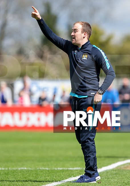 Manchester City Women Manager Nick Cushing during the Women's FA Cup Semi Final match between Chelsea Ladies and Manchester City Women at Wheatsheaf Park, Staines, England on 17 April 2016. Photo by Andy Rowland.