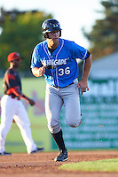 Hudson Valley Renegades first baseman Nathaniel Lowe (36) running the bases during a game against the Batavia Muckdogs on August 2, 2016 at Dwyer Stadium in Batavia, New York.  Batavia defeated Hudson Valley 2-1.  (Mike Janes/Four Seam Images)