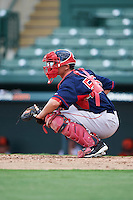GCL Red Sox catcher Samuel Miranda (55) warms up the pitcher in between innings during a game against the GCL Orioles on August 16, 2016 at the Ed Smith Stadium in Sarasota, Florida.  GCL Red Sox defeated GCL Orioles 2-0.  (Mike Janes/Four Seam Images)