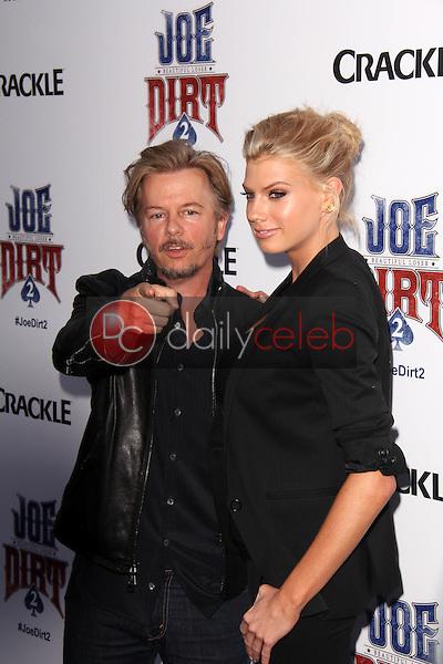 "David Spade, Charlotte McKinney<br /> at the ""Joe Dirt 2: Beautiful Loser"" Premiere, Sony Studios, Culver City, CA 06-24-15<br /> David Edwards/DailyCeleb.Com 818-249-4998"
