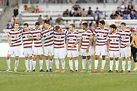 Houston, TX - Friday December 11, 2016: The Stanford Cardinal watching the overtime shootout against the Wake Forest Demon Deacons at the NCAA Men's Soccer Finals at BBVA Compass Stadium in Houston Texas.