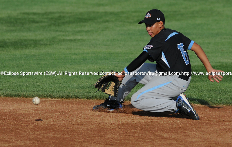 14 August 10: Ocala's Joey Casillas backhands a grounder for an out in the Cal Ripken Babe Ruth World Series 12U Majors in Aberdeen, Maryland
