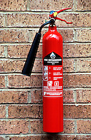 Fire extinguisher containing 2kg of carbon dioxide. This is used for liquid fires and electrical fires...© SHOUT. THIS PICTURE MUST ONLY BE USED TO ILLUSTRATE THE EMERGENCY SERVICES IN A POSITIVE MANNER. CONTACT JOHN CALLAN. Exact date unknown.john@shoutpictures.com.www.shoutpictures.com.
