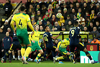 1st December 2019; Carrow Road, Norwich, Norfolk, England, English Premier League Football, Norwich versus Arsenal; Pierre-Emerick Aubameyang of Arsenal passes the ball to Alexandre Lacazette - Strictly Editorial Use Only. No use with unauthorized audio, video, data, fixture lists, club/league logos or 'live' services. Online in-match use limited to 120 images, no video emulation. No use in betting, games or single club/league/player publications