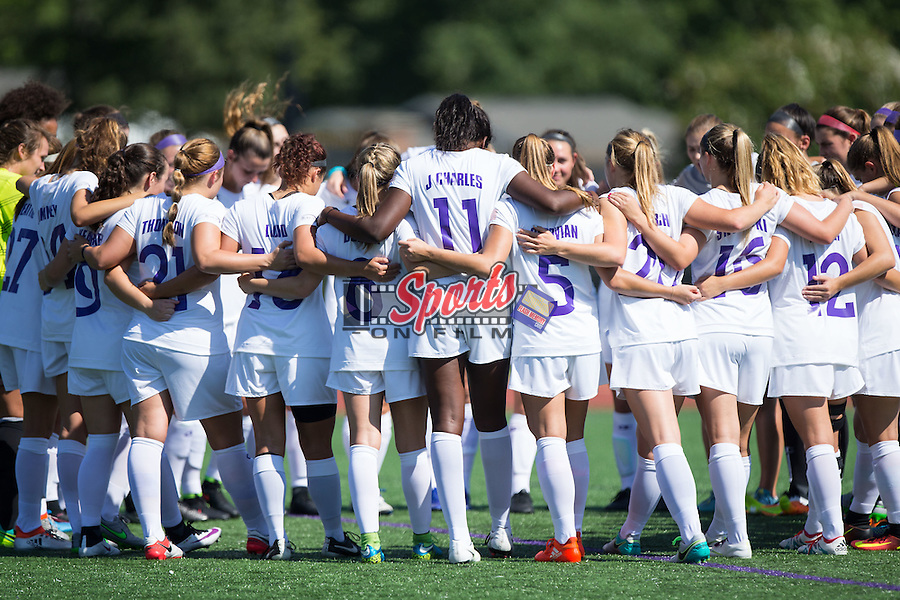 The High Point Panthers huddle up prior to the start of their match against the Appalachian State Mountaineers at Vert Track, Soccer & Lacrosse Stadium on August 26, 2016 in High Point, North Carolina.  The Panthers defeated the Mountaineers 2-0.  (Brian Westerholt/Sports On Film)