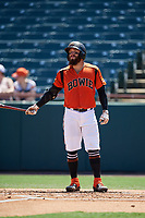 Bowie Baysox Brett Cumberland (28) bats during an Eastern League game against the Binghamton Rumble Ponies on August 21, 2019 at Prince George's Stadium in Bowie, Maryland.  Bowie defeated Binghamton 7-6 in ten innings.  (Mike Janes/Four Seam Images)