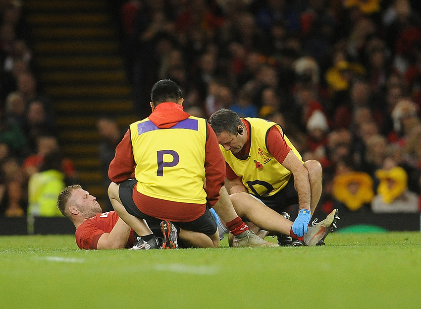 Wales' Ross Moriarty receives treatment during the game<br /> <br /> Photographer Ian Cook/CameraSport<br /> <br /> Under Armour Series Autumn Internationals - Wales v Australia - Saturday 10th November 2018 - Principality Stadium - Cardiff<br /> <br /> World Copyright © 2018 CameraSport. All rights reserved. 43 Linden Ave. Countesthorpe. Leicester. England. LE8 5PG - Tel: +44 (0) 116 277 4147 - admin@camerasport.com - www.camerasport.com