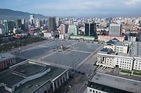Mongolia, Ulaanbaatar. Sukhbaatar Square, view from Best Western Tuushin hotel.