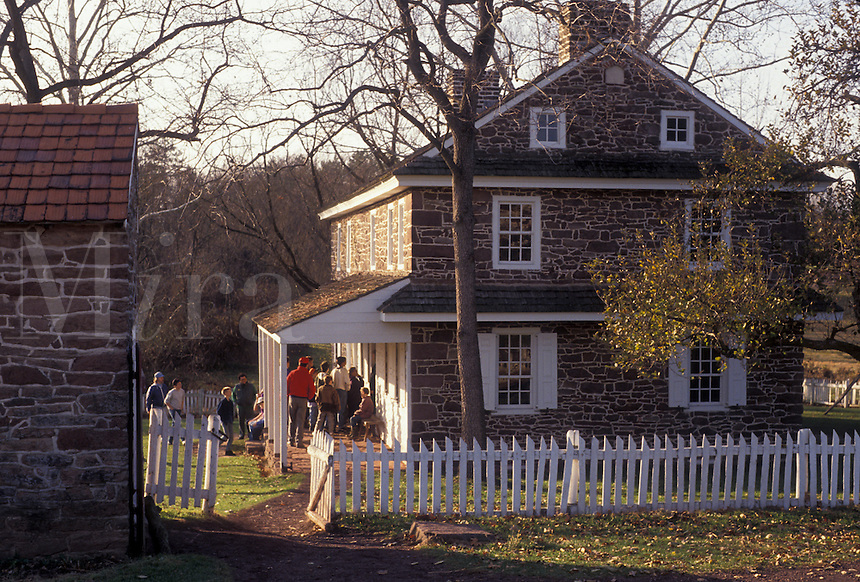 AJ3269, Daniel Boone Homestead, Pennsylvania, Stone house at Daniel Boone Birthplace in Birdsboro in the state of Pennsylvania.