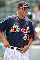 April 13, 2009:  Relief Pitcher Kyle Waldrop of the Fort Myers Miracle, Florida State League Class-A affiliate of the Minnesota Twins, during a game at Hammond Stadium in Fort Myers, FL.  Photo by:  Mike Janes/Four Seam Images