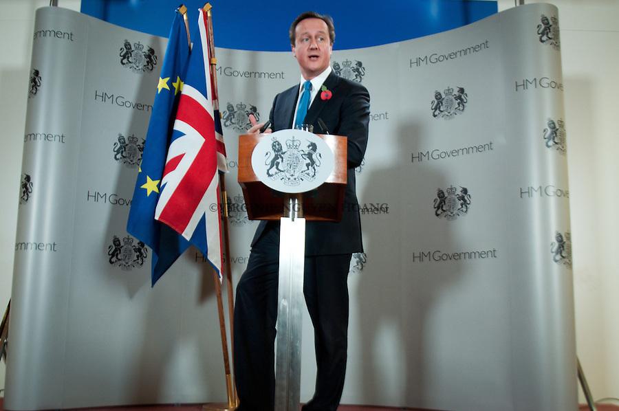Conférence de presse de David Cameron,Permier ministre de Grande-Bretagne lors du Sommet européen, Bruxelles...Press conference of David Cameron, Prime Minister of UK at European summit in Brussels