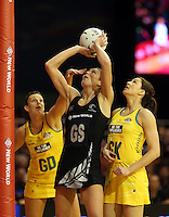 15.09.2013 Silver Ferns Irene Van Dyk in action during the Silver Ferns V Australian Diamonds New World Netball Series played at SIT Zero Fees Velodrome in Invercargill. Mandatory Photo Credit ©Michael Bradley.