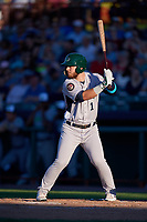 Vermont Lake Monsters right fielder Payton Squier (1) at bat during a game against the Tri-City ValleyCats on June 16, 2018 at Joseph L. Bruno Stadium in Troy, New York.  Vermont defeated Tri-City 6-2.  (Mike Janes/Four Seam Images)