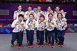 Japan team group (JPN), <br /> AUGUST 22, 2018 - Badminton : Women's Team Victory ceremony at Gelora Bung Karno Istora <br /> during the 2018 Jakarta Palembang Asian Games <br /> in Jakarta, Indonesia. <br /> (Photo by MATSUO.K/AFLO SPORT)