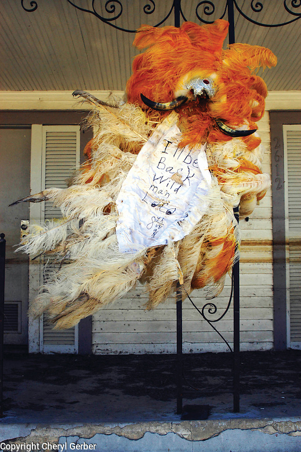 Wild Man Mardi Gras Indian suit left in 7th Ward after Katrina, 2005